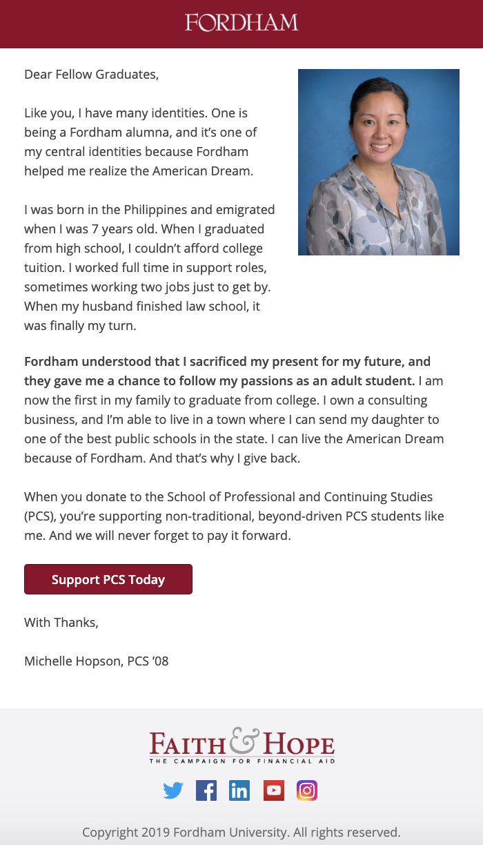 Fordham PCS Email Series Campaign